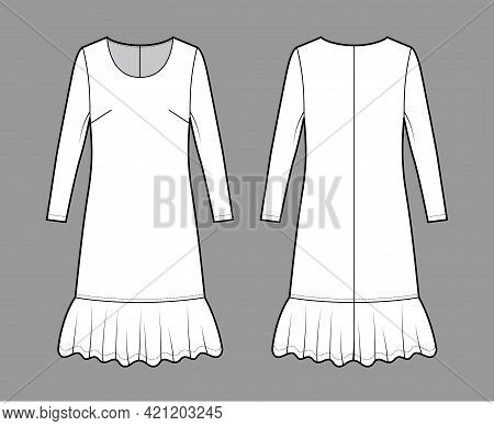 Dress Dropped Waist Technical Fashion Illustration With Long Sleeves, Oversized Body, Knee Length Sk
