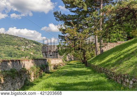 Upper Park Behind The Castle Walls In Brescia Town. Lombardy, Italy