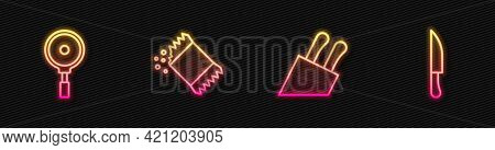 Set Line Knife, Frying Pan, Packet Of Pepper And . Glowing Neon Icon. Vector