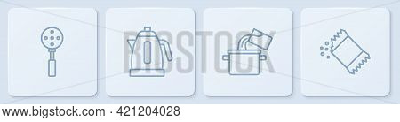 Set Line Spatula, Cooking Pot, Electric Kettle And Packet Of Pepper. White Square Button. Vector