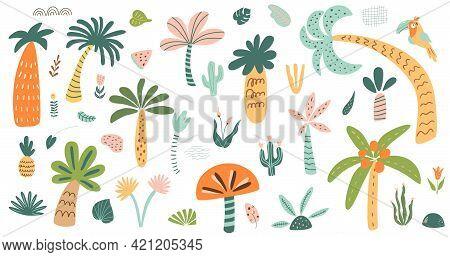 Cute Palm Tree Isolated Set. Stylized Palm Tree Collection. Childish Safari Tree Forest Elements. Ju