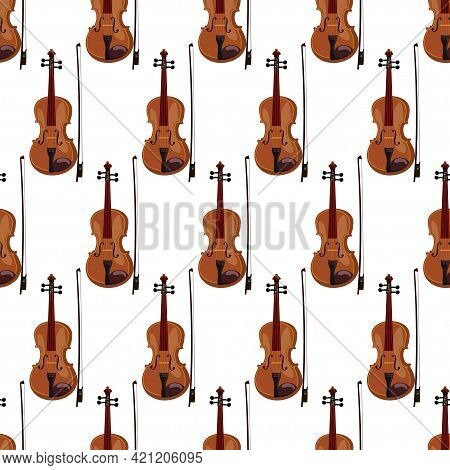 Seamless Pattern Of Violins On White Background, Realistic Classical Musical Instruments, Vector Ill