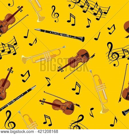 Seamless Pattern With Violins, Pipe, Oboe And Notes On Yellow Background. Art Vector Illustration
