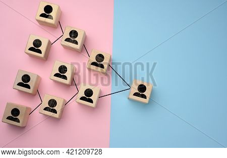 Wooden Blocks With Figures On A Lilac Background, Hierarchical Organizational Structure Of Managemen