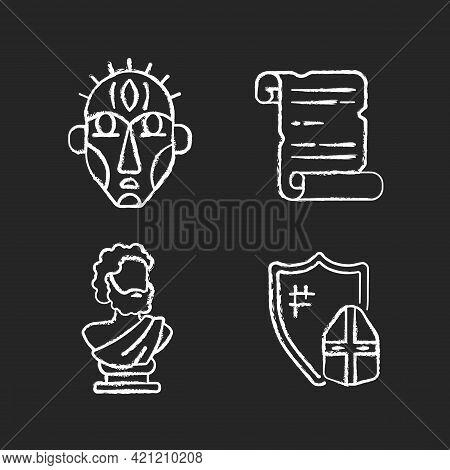 Exploring Ancient Lives Chalk White Icons Set On Black Background. Ritual Masks. Manuscripts. Sculpt