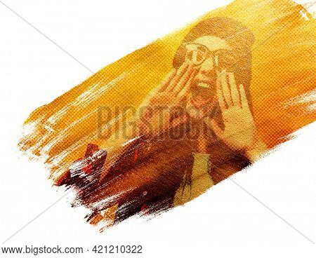 Hipster girl screaming like in megaphone holding hands near her face with open mouth, young woman touts everyone over acrylic golden stroke, design element for poster or flyer