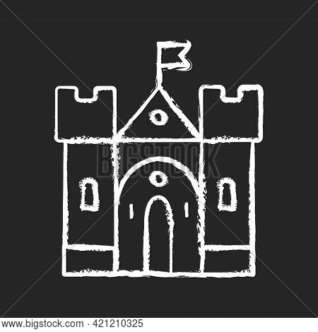Medieval Castle Chalk White Icon On Black Background. Historic Building. Fortress, Palace. Housing A