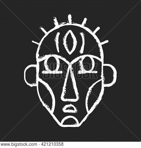 Ritual Masks Chalk White Icon On Black Background. Supernatural Beings, Ancestors Representation. Ce