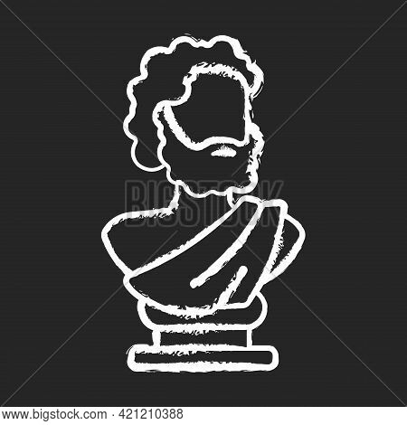 Ancient Statue Chalk White Icon On Black Background. Art History. Ancient Greek Sculpture. Depicting