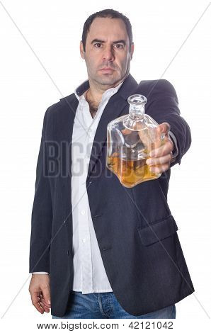 Drunk  Man Offering A Bottle Of Whisky