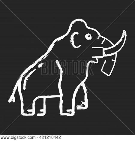 Mammoth Skeleton Chalk White Icon On Black Background. Trunked Mammal. Paleontological Excavation. E