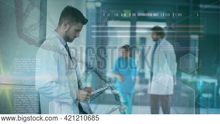Composition of dna and medical data processing over smiling male doctor using tablet. medicine, digital interface and data processing concept digitally generated image.