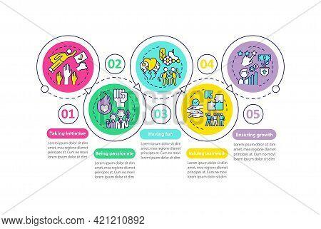 Main Company Core Values Vector Infographic Template. Teamwork, Ensuring Growth Presentation Design