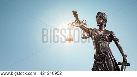 Lady Justice, Themis Sculpture Over Clear Blue Sky With Copy Space