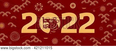 2022 Chinese New Year Tiger Silhouette, Abstract Elements, Fireworks, Gold On Red Background. Orient