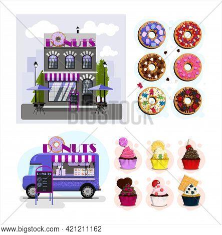 Big Donut Set. Donuts Cafe Exterior Vector Illustration. Flat Design Of Facade. Street Food Truck Wi