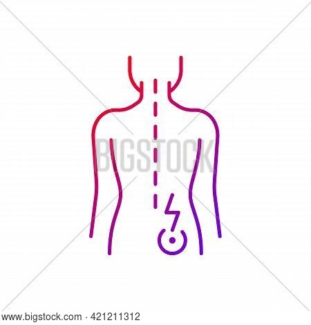 Lower Right Back Pain Gradient Linear Vector Icon. Sprains And Strains. Muscle-related One-sided Bac