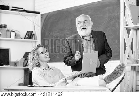 Teaching Private Lessons Great Way Share Knowledge. Man Mature School Teacher And Carefree Girl Stud