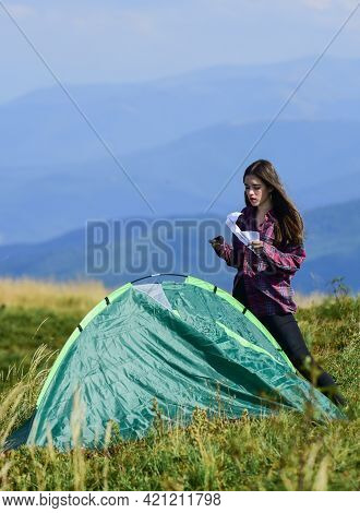 Camping Skills Concept. Camping And Hiking. Vacation In Mountains. Camping Trip. Helpful To Have Par