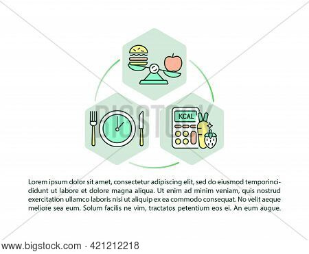 School Meal Standards Concept Line Icons With Text. Ppt Page Vector Template With Copy Space. Brochu