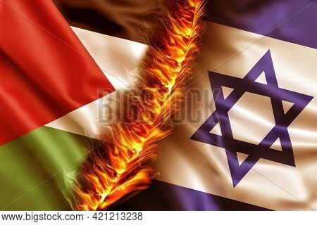 Israel Vs Palestine Flags. Waving Flag Design Overlap, The Burning Flag Of Israel And Palestine Brea