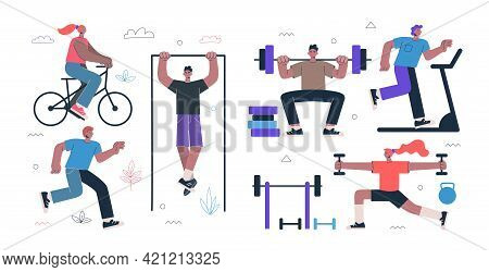 Healthy Lifestyle Fitness And Street Workout Sports Exercises Concept. Persons Squat With Barbell, R