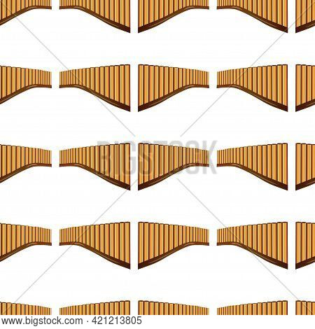 Realistic Pan Flute Isolated Seamless Pattern On White Background. Traditional Peruvian Musical Inst