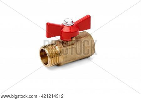 Water Ball Valve Isolated On White Background.