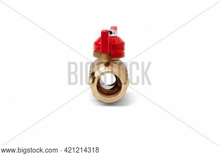 View Through A Water Tap Isolated On A White Background.