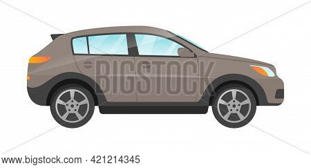 Design Of Grey Suv Passengers Car Isolated On White Background. Passenger Car Side View. Concept Of