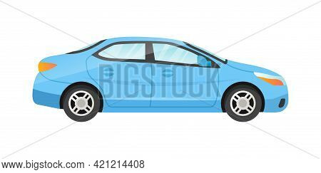 Vector Blue Sedan Isolated On White Background. Passenger Car Side View. Concept Of Different Colorf