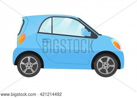 Design Of Small Blue City Car Isolated On White Background. Passenger Car Side View. Concept Of Diff