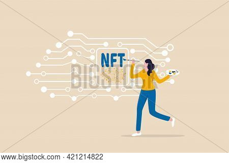 Nft Non-fungible Token, Selling Crypto Art Or Painting As Unique Digital Asset With Cryptocurrency P