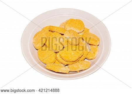 Raw Chicken Nuggets In A Steamer On A Plate Top View.frozen Chicken Nuggets On A Plate On A White Ba