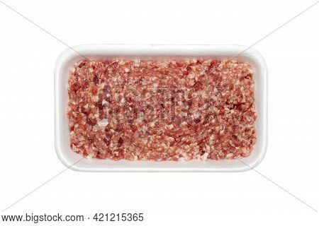 Minced Meat In A Plastic Container Top View.minced Meat, Isolated On A White Background.a Piece Of M