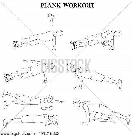 Workout Man Set. Plank Workout Silhouette On The White Background. Vector Illustration