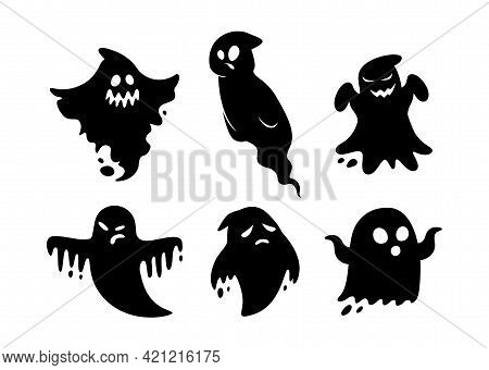 Cartoon Set Of Black Halloween Holiday Silhouette Elements Of Ghosts Isolated On White Background. B