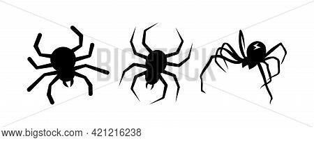 Cartoon Set Of Black Halloween Holiday Silhouette Elements Of Spiders Isolated On White Background.