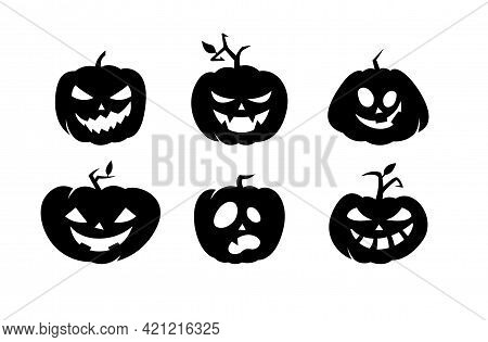 Set Of Black Halloween Holiday Silhouette Elements Of Crazy Pumpkins On White Background. Black Pump