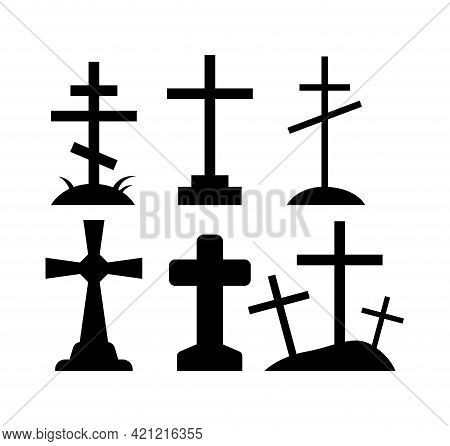 Cartoon Set Of Black Halloween Holiday Silhouette Elements Of Spooky Grave Crosses On White Backgrou