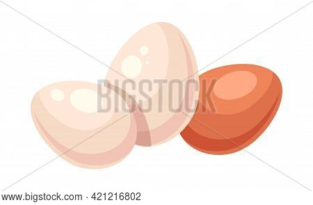 Three Eggs With Eggshell Of Differren Colors On White Background. Concept Of Fresh Eggs On White Bac