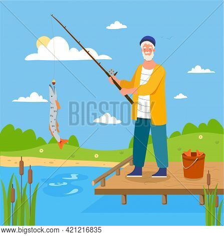 Male Elderly Fisher Is Fishing In The Pond By Himself. Grey Bearded Man With Big Fish He Caught. Con