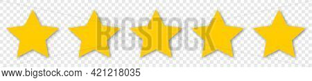 5 Yellow Stars Icon. Customer Feedback Concept. Vector 5 Stars Rating Review. Simple Flat Style With