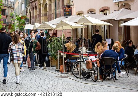 Strasbourg, France - May 19, 2021: People Waiting To Be Seated At Terrace Of Academie De La Biere On