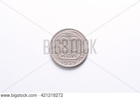 Ussr 20 Kopecks 1939 Year Standard Circulation Coin. The Coat Of Arms Of The Soviet Union. Compositi