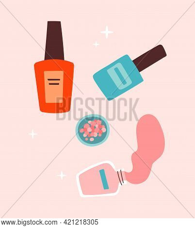 Sticker Of Female Colorful Manicure Polish On Pink Background. Concept Of Lady Painting, Polishing N