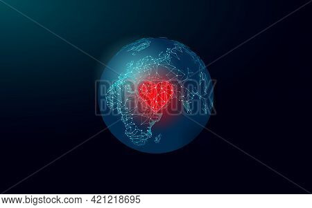 Love Planet Earth Red Heart. 3d Polygonal Global Ecology Solve Problem. Environment Nature Safety Ha