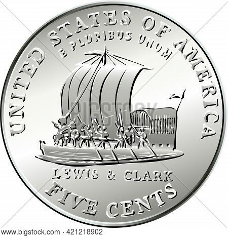 Jefferson Nickel, American Money, Usa Five-cent Coin With Keelboat Of Lewis And Clark Expedition On
