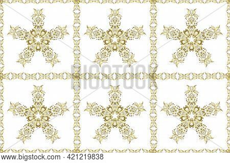 Seamless Abstract Background. Raster Illustration. Oriental Raster Classic White And Neutral And Gol