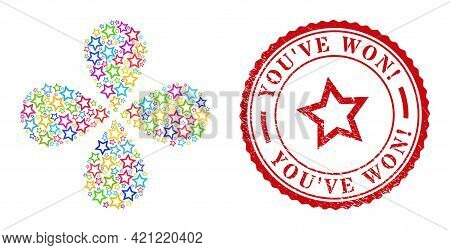 Contour Star Colored Centrifugal Abstract Flower, And Red Round You Ve Won Exciting. Grunge Stamp Pr